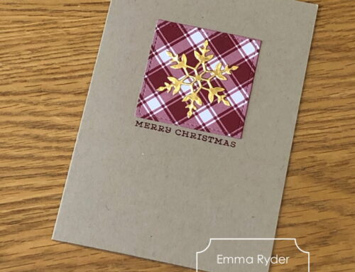 October class by post – Gold and Plaid card